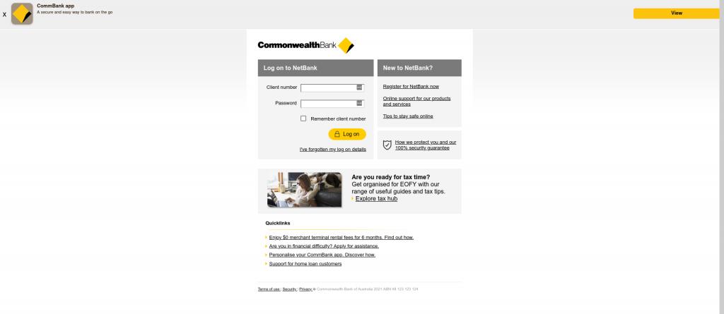 Fake CommBank Login screen